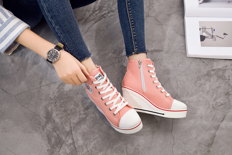 Women's Shoes Hidden Wedge Heel Shoes 18 Women Casual Shoes Canvas Sneakers High Top Breathable Platform Chaussure Femme 15