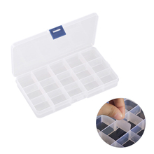 Adjustable 15 Grids Empty Nail Art Storage Box for Nail Art Gems Earrings Bead Rings Jewelry Container Organizer Plastic