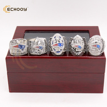 newest 5 pcs 2001 2003 2004  2014 2016-2017 New England Patriots official Championship Ring set  WITH wooden red  BOX