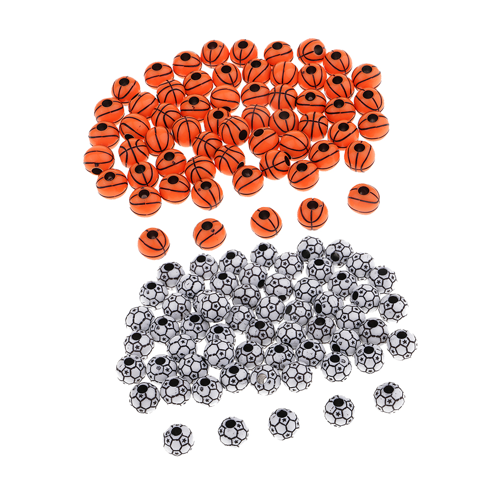 120pcs DIY Mixed Football Basketball Beads for Sewing Clothes Embellishments