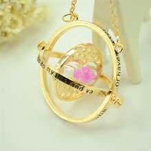 SUTEYI Fashion Hot Sale Time Turner Necklace Hermione Granger Rotating Spins Gold Hourglass Pendant jewelry(China)