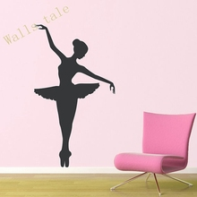 Ballerina Wall Decal - Dancer Dancing Ballet Vinyl Wall Decal Graphic Stickers , Large size free shipping A2058(China)