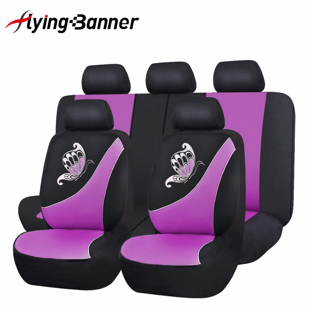 2017 New Car Seat Cover Butterfly Printing Pink Green Purple Universal Car Cover Seat Car Accessories Mesh Cloth Seat Covers <br><br>Aliexpress