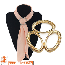 plating quality oval three-ring silk scarves Wholesale high-grade Europe and three times the scarf buckle manufacturer