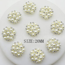 10 pcs lot 20mm Pearl Rhinestone Snap Button Jewerly Metal Button Flatback  Embellishment for Wedding Hair Ribbon Craft Decor 690e09768162