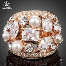 AZORA Rose Gold Color Clear Cubic Zirconia With Pearl Ring TR0132