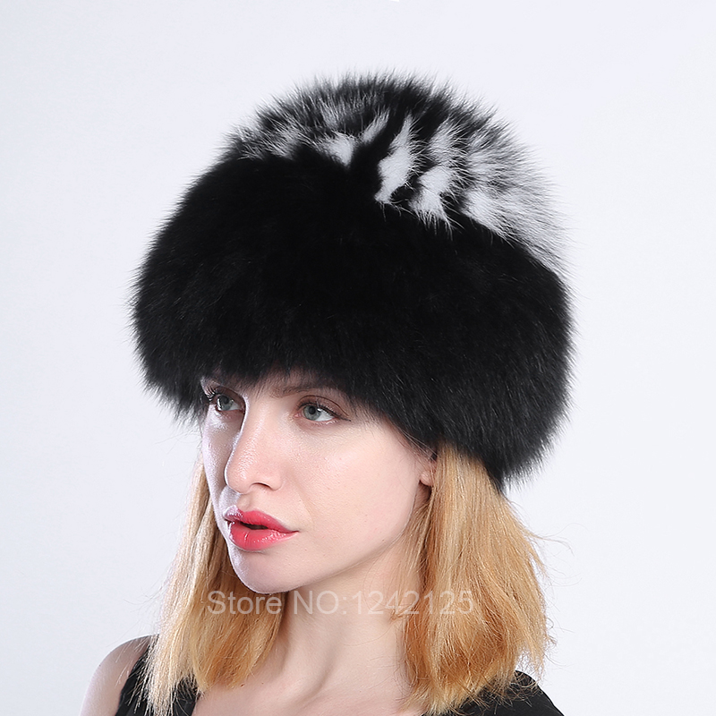 New winter lady women parent-child kids children girl knitted fox fur hat warm striped stitching real fox weave hat cap beanies<br>