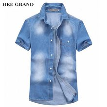 HEE GRAND Men Short Sleeve Summer Demin Shirt 2017 New Arrival Main Cotton Material Slim Fitted Male Shirts Size M-3XL MCS678