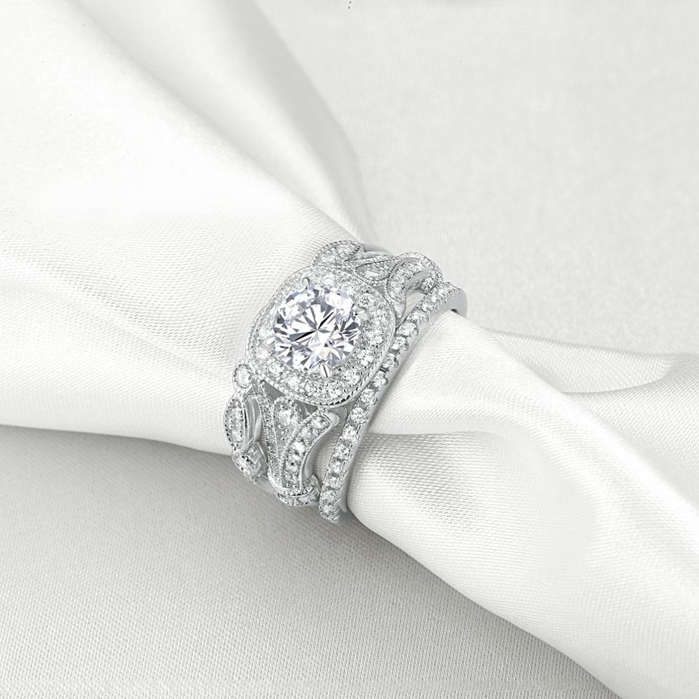 Classic 3 Pcs 1Ct Round AAA CZ 925 Sterling Silver Wedding Ring Set