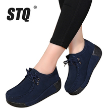 STQ 2017 Autumn women platform shoes women casual shoes leather suede platform shoes women flats ladies lace up creepers 3582