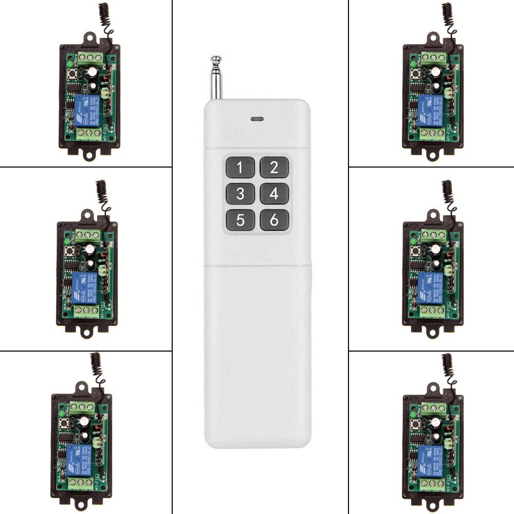 3000m DC 9V 12V 24V 1 CH 1CH RF Wireless Remote Control Switch System,315/433.92 MHZ, Transmitter + 6 X Receiver<br>