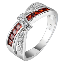 Mystery Red Cross Ring Fashion White & Black Gold Filled Jewelry Vintage Wedding Rings For Women Birthday Stone Gifts(China)