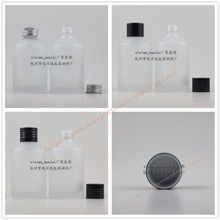 200ml clear frosted glass bottle with black/silver aluminum lid+reducer,essential oil/liquid/moisturizer/facial water container