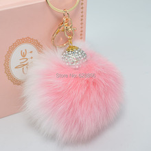 Crystal Ball 11cm contrast color Genuine Leather  Fox fur ball plush key chain for car  key ring  Bag Pendant car keychain