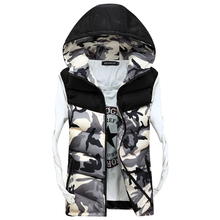 2017 Men's Hooded Camouflage Vests Men Women Winter Sleeveless Casual Jackets Male Slim Camo Waistcoats 4XL Brand Clothing SA030