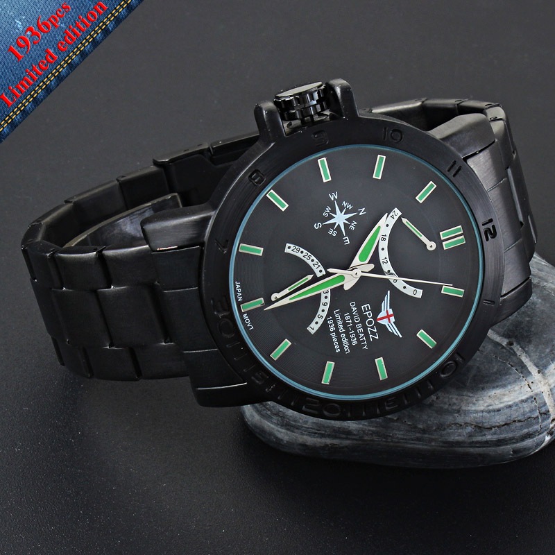 EPOZZ Brand new quartz watch for men big dial waterproof stainless steel watches classic casual top fashion luxury clock 1602<br>