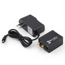 Digital Optical Coaxial Toslink to Analog RCA L/R Audio Converter Converts Black US Plug