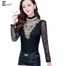 2016 New Arrival Spring Fashion Women Long Sleeve Stand Slim Elegant Formal See Through Top Beaded Office Black Lace Blouse XXL