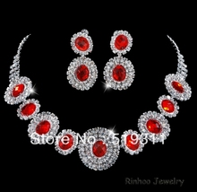Elegant Red Oval Crystal bride rhinestone accessories necklace earrings sets Wedding rhinestone sets