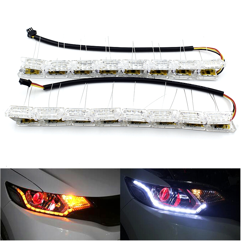 2x Flexible White/Amber LED DRL Daytime Running Strip Light Flasher Flow Styling Turn Signal Telescopic Streering Car Headlight<br><br>Aliexpress