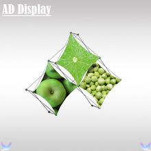 Portable Pyramid Stretch Fabric Table Top Small Triangular Shape Pop Up Display With Three Section Banner Printing