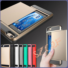 For iphone 4S Slider Card holder Style Brushed Slim Armord Hybrid Brush Protective Back Phone Cover Case For iphone 4 S 4S Coque