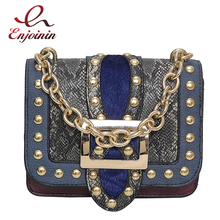 Fashion trend design snake skin stitching rivet chain women's casual bag shoulder bag ladies crossbody messenger bag purse pouch