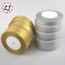 Brand high quality 5/8'' 3/4''(20mm) 1''(25mm) 1-1/2''(40mm organza Silver gold Glitter ribbon for wedding craft bow decoration(China)