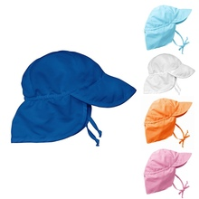 Summer Children Boys Girls Sun Hat Anti-UV Swim Hat Baby Toddler Flap Sun Protection 5 Colors 1-4Y