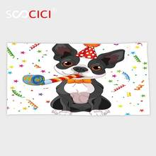 Custom Microfiber Ultra Soft Bath/hand Towel,Birthday Decorations for Kids Black and White Boston Terrier with Colorful Party(China)