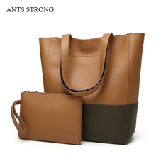 ANTS STRONG retro PU cortex shoulder bags/Casual two-color stitching composite tote bag bucket pack