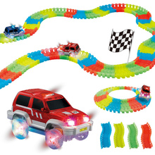 DIY Flex Glow Track Electric LED Light Up Racing Car Funny Bricks Flex Rail Car Vehicles Educational Toys For Children