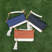 Wholesale Blanks Mix Color Clutch bag Foldover Evening Bag with Metal Shoulder Chain Three Colors Availabe DOM106190