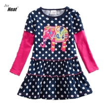 NEAT Girls Long Sleeve Dress 2017 Spring and Autumn models children sweet cute cotton embroidery flowers children's dress LH5868(China)