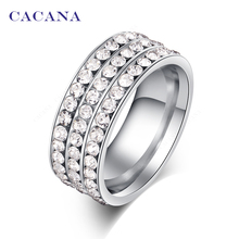 CACANA Stainless Steel Rings For Women Fashion Jewelry Wholesale NO.R120(China)