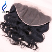ALICROWN Body Wave 13*6 Lace Frontal Closures Bleached Knots Brazilian Remy Hair Frontal Closures With Baby Hair Natural Color