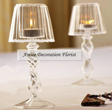 Modern Crystal Glass Candelabra 18.5cm Wedding Home Furniture Decor Table Lamp Pillar Candle holder Stand Clear FL383(China)