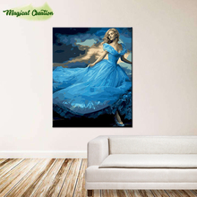DIY digital oil painting with frame abstract by numbers hand painted for home wall decor 40*50cm Cinderella(China)