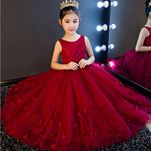 High Quality Wine Girls Piano Performance Dress Newest Design Girl Clothes Party Prom Dress Sleeveless Kids Dresses For Girl P65