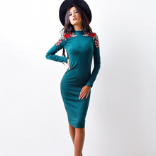 2017 Autumn Fashion Women Tight Dress Casual O-neck Long Sleeved Appliques Dresses Sexy Bodycon Bandage Knee Length Pencil Dress