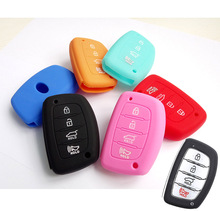 SILICONE REMOTE KEY COVER CASE FOB FIT FOR HYUNDAI ELANTRA SONATA TUCSON I40 IX35 I45 HOLDER 4 BUTTON SMART KEYLESS SHELL(China)