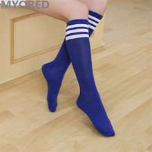 MYORED candy colored stripes cotton sexy womens long socks style party street dancing knee sock(China)