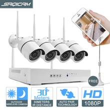 HD Wireless NVR 4CH WiFi CCTV Camera System Mini 1080P 2.0MP Night Vision Outdoor IP Camera Video Surveillance Kit Free antenna