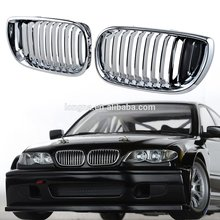 Chrome Euro Front Upper Kidney Grille For 02-05 BMW E46 Grille 3 Series 320 325 330 4D (Pair)