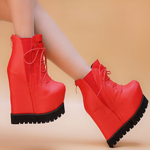 16cm Fall The New European and American high with Slope with the female boots Sexy nightclub Waterproof boots women