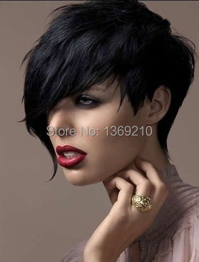 Salomon Soft Natural Cheap Short Pixie Black Color Hair Cut Synthetic Hair Wigs<br><br>Aliexpress