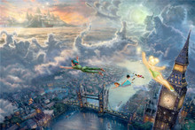 Thomas kinkade Prints on Canvas reproduction painting picture home wall art decorate Tinker Bell And Peter Pan Fly To Neverland(China)