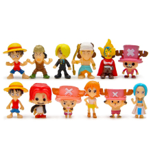 12pcs/lot Anime One Piece Mini Figure Luffy Zoro Sanji Usopp Franky Nami Robin Chopper PVC Action Figure Collectible Model Toy