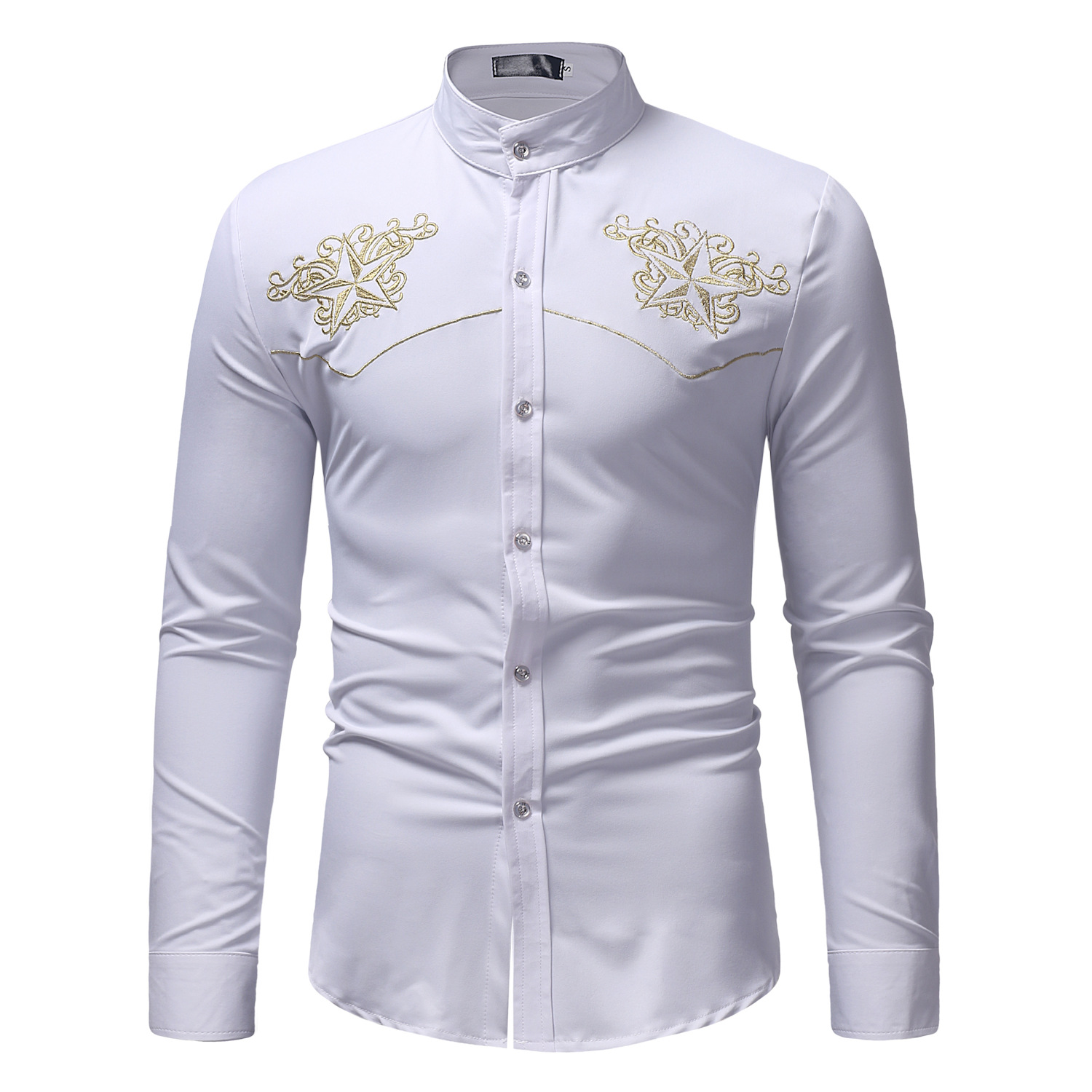 2019 Formal Mens Shirt Large Size Embroidered Long Sleeve Stand