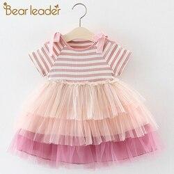 Bear leader/платья для девочек; Новинка 2019 года; летнее Брендовое детское платье принцессы с милой вышивкой и бантом для девочек; детская одежда